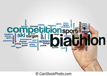 Biathlon word cloud concept on grey background