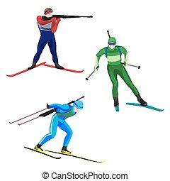 biathlonists, sätta, på, skidor, vektor, illustration,...