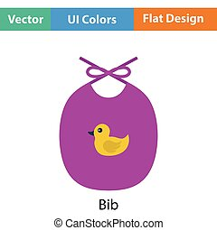 Bib icon. Flat color design. Vector illustration.