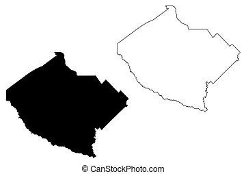 Bibb County, Georgia (U.S. county, United States of America, USA, U.S., US) map vector illustration, scribble sketch Bibb map