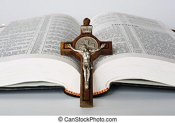 bibbia, con, croce
