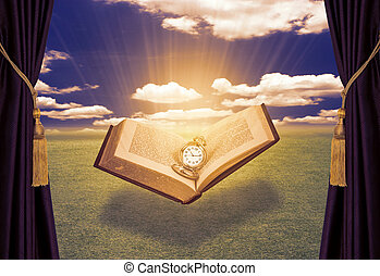 bibbia, raggio, vedere, cielo, fondo., nappa, tenda, luce, libro aperto