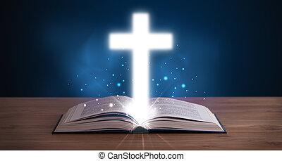 bibbia, santo, croce, mezzo, ardendo, aperto