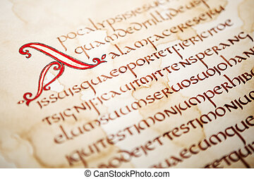 bibel, auszug, handgeschrieben