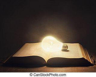 bibel, mit, glühlampe