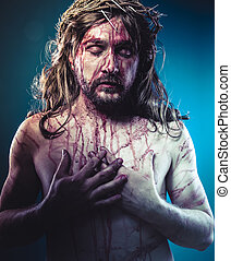 bibel, representation, av, jesus kristus krysset