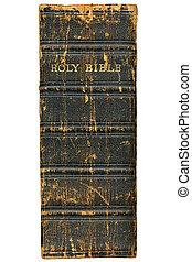 bibel, rygg, över, isolerat, bakgrund., viktorian, 1868, vit