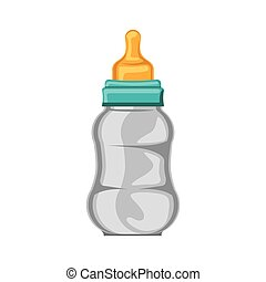 biberon baby with yellow pacifier vector illustration