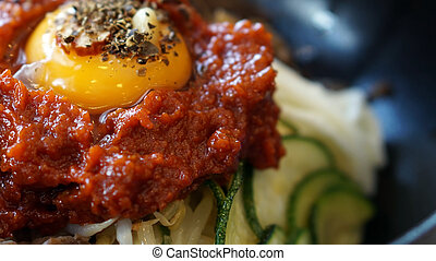 bibimbap, Korean hot mix side dishes food with red sauce