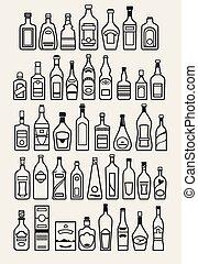 bibite, alcool, bevanda, icone