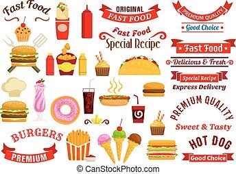 bibite, cibo, digiuno, spuntini, emblemi, nastri