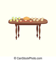 bibite, delizioso, cibo, illustrazione, legno, vettore, fondo, tavola, bianco, banchetto