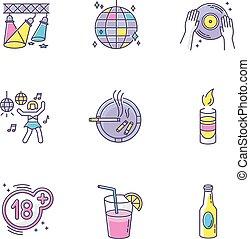 bibite, ozio, set., rgb, notte, vettore, alcool, attività, isolato, ricreazione, ballo, club, icone, adulto, colorare, stabilimento, intrattenimento, nightlife, illustrazioni, clubbing, symbols.