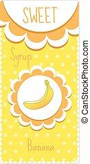 bibite, sciroppo, dolce, etichette, illustrazione, frutta, vettore, label., jam., banana