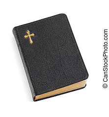An old pocket-sized black bible isolated on white eith natural shadows