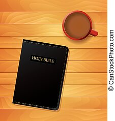 Bible and Coffee Devotional Concept - An illustration of a...