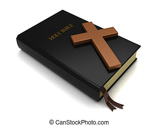 Bible and Cross - 3D Illustration of a Bible and a Cross