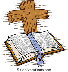 Bible and cross - Wooden cross and Bible