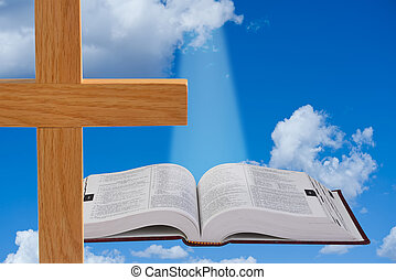 Bible and Heaven. - Christian Cross and Holy Bible.