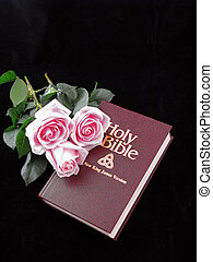 bible and roses
