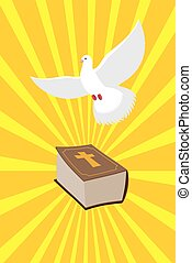 Bible and White Dove symbols of Christianity. Pure white dove brought  Holy Bible. Old book of  New Testament and white bird. Rays emanate from book. Rays of divine light.