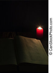 bible, bois, livre, fond, nuit, bougie