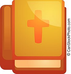 Bible book icon, cartoon style