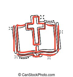 Bible book icon in comic style. Church faith cartoon vector ...
