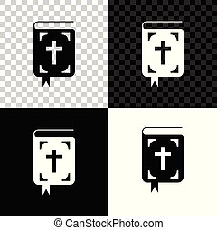 Bible book icon isolated on black, white and transparent background. Holy Bible book sign. Vector Illustration