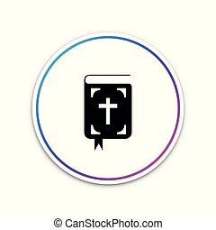 Bible book icon isolated on white background. Holy Bible book sign. Circle white button. Vector Illustration