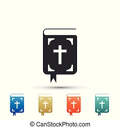 Bible book icon isolated on white background. Holy Bible book sign. Set elements in colored icons. Flat design. Vector Illustration