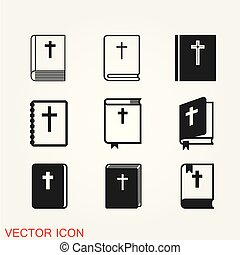 Bible book icon vector, in trendy flat style isolated on background