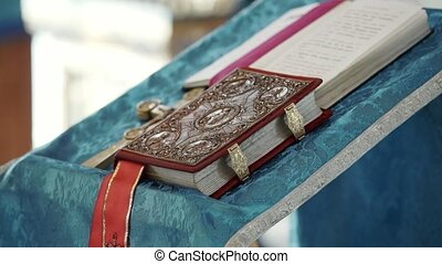 Bible book in church on table