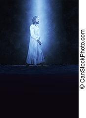 bible, cieux, eau, marche, scène, jésus, lumière