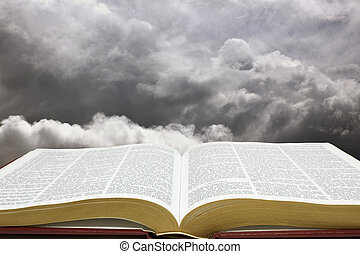 Bible & Creation Sky - Horizontal image of Bible and...
