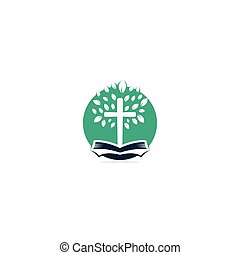 Bible Cross Tree Church Logo Design.