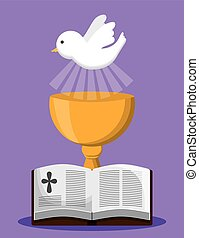 bible dove cup gold religion icon. Vector graphic