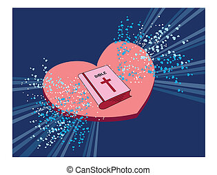 Bible - Vector illustration of the Holly Bible with hearts
