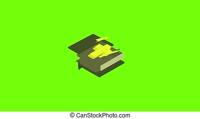 Bible icon animation cartoon object on green screen background