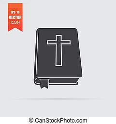 Bible icon in flat style isolated on grey background.