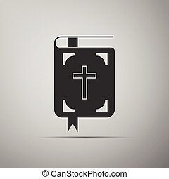 Bible icon on grey background.