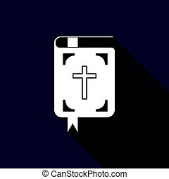 Bible icon with long shadow.