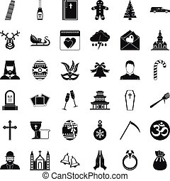 Bible icons set, simple style - Bible icons set. Simple...
