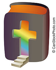 illustration drawing of crucifix and bible in a white background