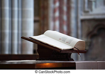 bible in church interior close up