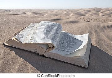Bible in desert - Old Christian Bible lies open in desert...
