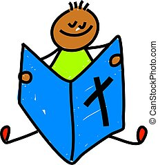 bible kid - little ethnic boy reading the bible - toddler...