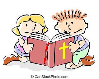 Bible kids - Children sitting reading the Bible. Conceptual...