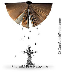 bible., lettere, cadere, fuori