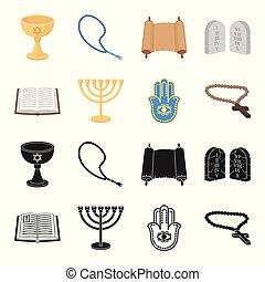 Bible, menorah, hamsa, orthodox cross. Religion set collection icons in black, cartoon style vector symbol stock illustration web.